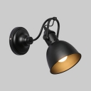 1 Light Dome Rotatable Sconce Light Industrial Metal Wall Light in Matte Black for Bedroom