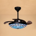 Stained Glass Bowl Semi Flush Mount Light with 3 Blade Mediterranean Style LED Ceiling Fan in Blue for Bedroom