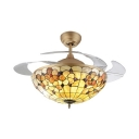 Tiffany Frequency Conversion LED Ceiling Fan Lattice Dome 36/42 Inch Glass Semi Flush Ceiling Light for Dining Room