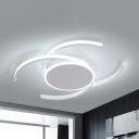 Living Room Half-Circle Flush Mount Light Acrylic White LED Ceiling Lamp in Warm/White