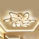 White Floral LED Semi Flush Light 6/9 Lights Cartoon Acrylic LED Ceiling Fixture for Girl Bedroom