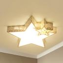 Cloud/Crescent/Star Bedroom Ceiling Mount Light Metal Lovely LED Flush Light in Warm/White