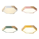 Candy Colored Hexagonal Flush Ceiling Light Nordic Stylish LED Ceiling Lamp in Warm/White for Girls Boys Bedroom