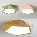 Pentagon Child Bedroom Flush Mount Light Acrylic Nordic Warm/White Lighting LED Ceiling Lamp in Green/Pink/Yellow