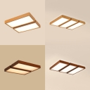 Japanese Style Rectangle Ceiling Mount Light Wood 2/3 Heads Warm/White Lighting LED Flush Light for Bedroom