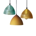 Modern Amber/Blue/Brown Pendant Light Cone Shade 1 Light Fluted Glass Hanging Lamp for Cafe