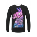Mens Popular Game Comic Hobby Horse 3D Printed Basic Round Neck Long Sleeve Black Fitted Sweatshirt