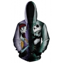 Fashion Jack Skellington Green and Purple Comic Character Pattern Long Sleeve Zip Up Hoodie