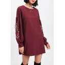 Chic Floral Embroidery Balloon Long Sleeve Round Neck Loose Leisure Tunic Sweatshirt