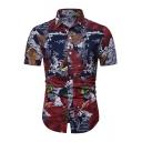 Summer Stylish Red Leaf Pattern Short Sleeve Slim Fitted Shirt for Men