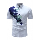 Chic Simple Floral Printed Mens Short Sleeve Button Up Slim White Shirt