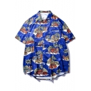 Fashion Summer Tropical Printed Short Sleeve Blue Cotton Loose Hawaiian Beach Shirt