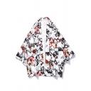 Ukiyo-e Vintage Floral Printed Three-Quarter Sleeve Summer UV Protection Casual Loose Kimono Shirt
