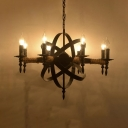 Round Restaurant Suspension Light with Candle Wrought Iron 8 Lights Industrial Chandelier in Black