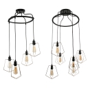 Pentagon Wire Frame Pendant Light 4/6 Lights Industrial Metal Hanging Light in Black for Cloth Shop