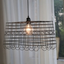 Metal Square Cage Pendant Light 1 Light Industrial Suspension Light in Black for Cafe Bar