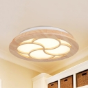Key Shape Study Room Ceiling Lamp Wood Simple Stylish Beige LED Flush Light in Warm/White