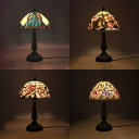 Plant Bedside Table Desk Light Stained Glass 1 Light Rustic Tiffany Table Lamp with Bronze Body
