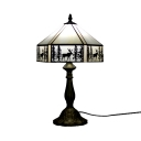 Art Glass Tent Desk Light with Forest One Light American Rustic Table Light in Beige for Restaurant