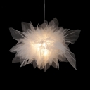 Creative White Pendant Light Flower Shape 1 Light Fabric Hanging Light for Girl Bedroom Cloth Shop