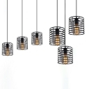 Hollow Cylinder Dining Room Pendant Light Metal 3 Heads Industrial Hanging Lamp in Black Finish