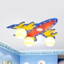 Wood Airplane LED Flush Ceiling Light Child Bedroom 3 Heads Modern Ceiling Lamp with Globe Shade