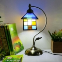 Multi-Color House Night Light 1 Head Classic Tiffany Glass Desk Light with Plug-In Cord for Kid Bedroom