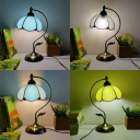 Simple Style Tiffany Dome Desk Light 1 Light Art Glass Night Light for Study Room Restaurant