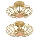 Contemporary Gold LED Flush Mount Light Oval Cage 3/5 Lights Metal Ceiling Lamp for Balcony Corridor