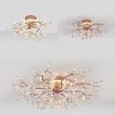 Twig Cloth Shop Ceiling Mount Light Metal 48/78/135 Lights Luxurious Flush Light in Gold