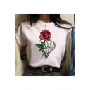 Cool Skeleton Hand Rose Floral Printed Round Neck Short Sleeve Casual Loose White T-Shirt