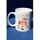 Cool Friends Cartoon Sofa Animal Printed White Porcelain Mug Cup