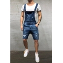 Guys Stylish Distressed Ripped Denim Rompers Shorts Bib Overalls
