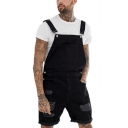Vintage Black Distressed Ripped Rolled Cuff Work Denim Overalls Shorts for Guys