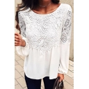 Basic Simple Plain Chic Lace Patched Round Neck Long Sleeve White Casual Chiffon Blouse Top