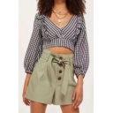 Stylish Plaid Pattern V-Neck Bow-Tied Back Chic Ruffled Hem Cropped Blouse
