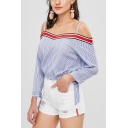 Trendy Light Blue Striped Printed Cold Shoulder Straps Long Sleeve Blouse