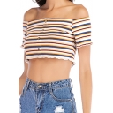 Summer Trendy Colorful Striped Printed Off the Shoulder Short Sleeve Button Down Crop Tee