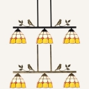 Glass Dome Island Light with Bird Study Room 3 Lights Tiffany Style Chandelier in Aged Brass/Black