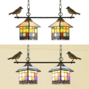 House Bedroom Shop Pendant Lamp Stained Glass 2 Lights Tiffany Style Chandelier with Bird