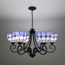 Glass Dome Hanging Lamp 6 Lights Mediterranean Style Chandelier for Living Room Restaurant