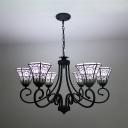 Traditional Black Chandelier Bell Shade 6 Lights Metal Pendant Light for Dining Room Villa