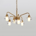 Antique Style Cylinder Hanging Light Glass 6 Lights Brass Chandelier for Living Room Villa
