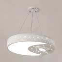 Moon Plane LED Pendant Light Kids Metal Acrylic Suspension Light in Warm/White for Bedroom