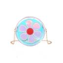 Lovely Floral Pattern Laser Transparent Round Crossbody Shoulder Bag 17*6*17 CM