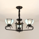 Blue Dome Shade Hanging Light 3 Lights Tiffany Style Glass Chandelier Light for Foyer