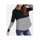 Women's New Round Neck Plaid Patched Round Neck Long Sleeve Pullover Sweatshirt