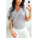 Summer Elegant Plain Collared Short Sleeve Chiffon Blouse Top For Women