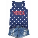 Summer Lovely Stars Printed MERICA Letter Round Neck Sleeveless Casual Blue Tank