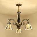 Glass Cone Shade Chandelier 3 Lights Tiffany Style Rustic Hanging Light with Leaf for Hallway